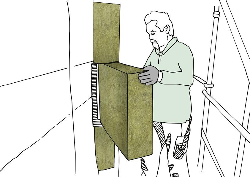 Brandschutz dank Mineralwolle: Wärmedämmverbundsysteme (WDVS) lassen sich gut nachträglich anbringen. Hierzu werden die Dämmplatten, z.B. aus Mineralwolle, direkt an der Hauswand befestigt und verputzt.