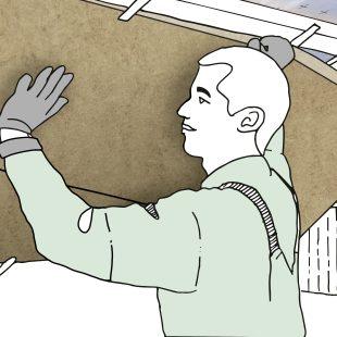 Eine lückenlose Untersparrendämmung aus Mineralwolle minimiert Wärmebrücken im Bereich der Dachsparren.