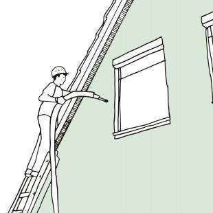 Mit dem Einblasverfahren können auch zweischalige Außenwände bestehender Gebäude nachträglich gedämmt werden.