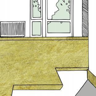 """Bei der Fußbodendämmung wird der Estrich in der Regel """"schwimmend"""" auf die Dämmplatten aus Glas- oder Steinwolle verlegt."""
