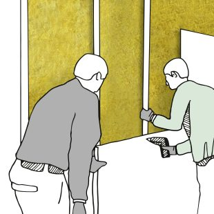 Nach dem fugenfreien Einbringen der Dämmplatten aus Mineralwolle werden die Ständerwände mit Gipsfaser- oder Holzspanplatten beplankt und können anschließend tapeziert und gestrichen werden.