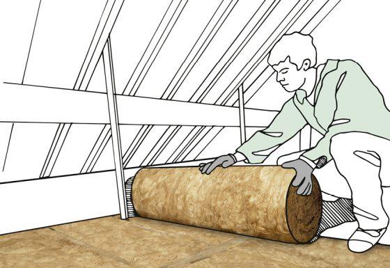 Dämmung unterm Dach: Bei nicht begehbaren Dachgeschossen wird der Boden mit flexiblen Dämmstoffen aus Glaswolle oder Steinwolle ausgelegt.
