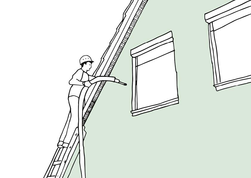 Kerndämmung mit Mineralwolle: Mit dem Einblasverfahren können auch zweischalige Außenwände bestehender Gebäude nachträglich gedämmt werden.