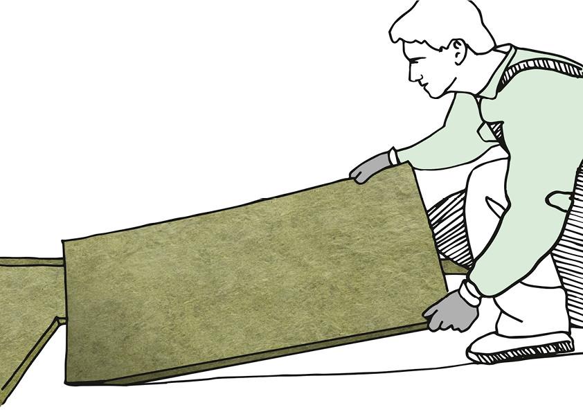 Trockenestriche aus Gipsfaser- oder Holzspanplatten können direkt auf die trittfeste Mineralwolle-Dämmschicht verlegt werden.