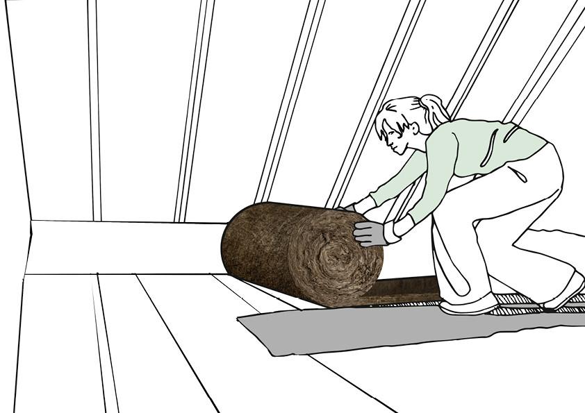 Für nicht begehbare Dachböden werden flexible Mineralwolldämmstoffe wie Glaswolle oder Steinwolle genutzt.