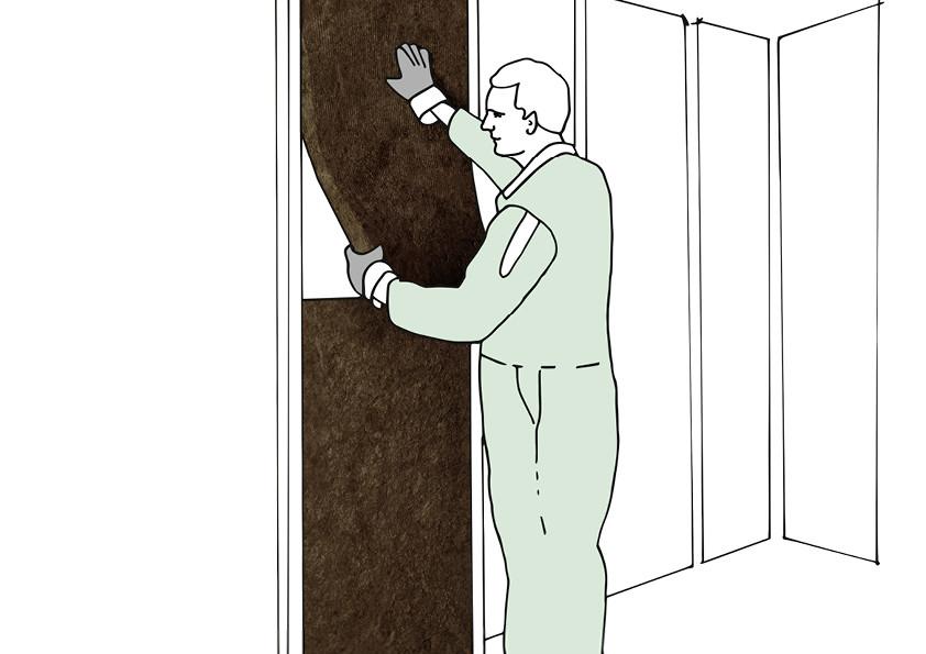Bei der Dämmung von Zwischen- bzw. Trennwänden wird die Mineralwolle (Glas- oder Steinwolle) zwischen den Ständern angebracht.