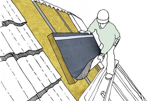 Bei einer Aufsparrendämmung wird Mineralwolle wie Steinwolle oder Glaswolle durch einen Fachmann auf dem Dach angebracht.