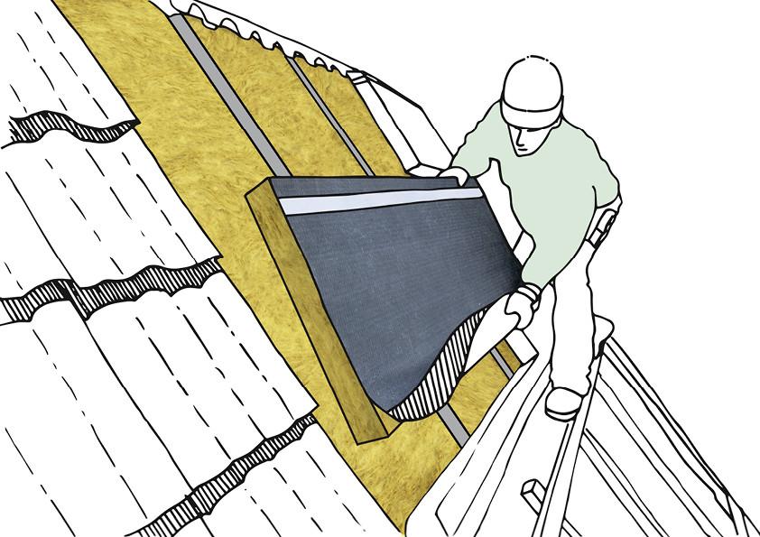 Dachdämmung: Das Anbringen der Mineralwolle wie Steinwolle oder Glaswolle auf dem Dach in luftiger Höhe.