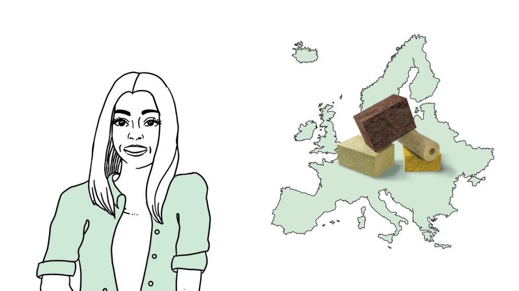 Mineralwolle (Glaswolle und Steinwolle) ist der im häufisten eingesetzte Dämmstoff in Europa.