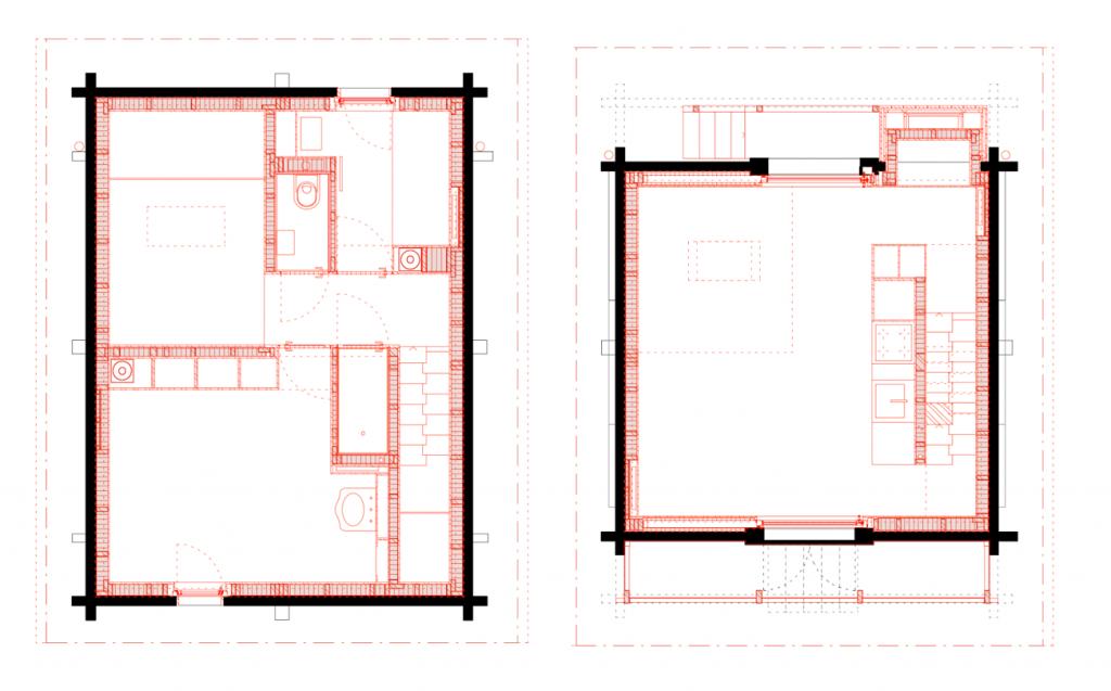 links: Im oberen Geschoss liegen zwei Schlafzimmer und ein großzügiger Luftraum. rechts: Die Küche ist im mittleren Geschoss und das Zentrum und der Eingang des Hauses.