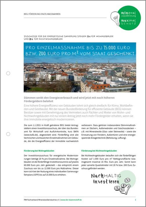 FMI Whitepaper BEG EM Seite 1 | Der Dämmstoff